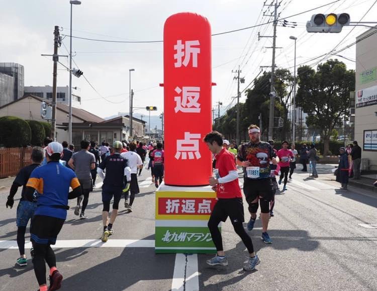 マラソン大会の折り返し点