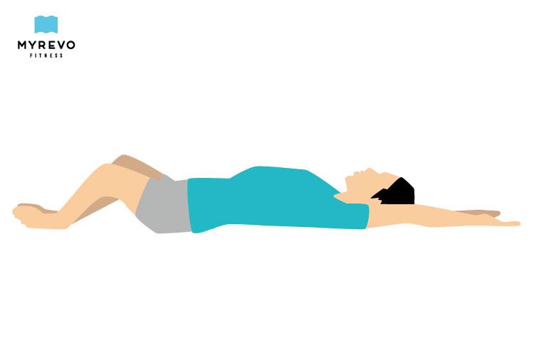 寝ながら股関節ストレッチ 横たわった合せきのポーズ