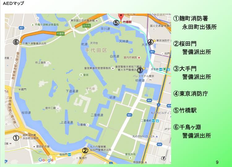 皇居周辺のAEDマップ