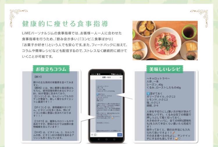 LINE@での食事指導画面