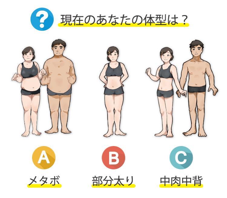 現在の体型を選ぶ3択画像