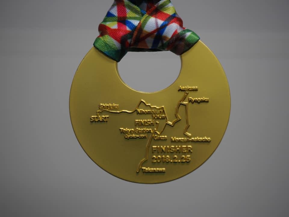 東京マラソンの大会のメダルの裏側