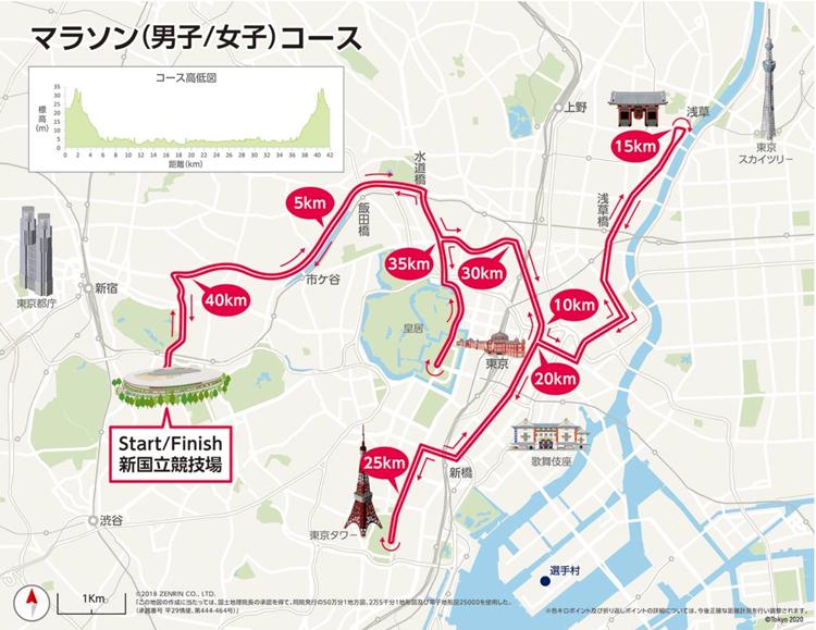 東京五輪のマラソンコースの地図
