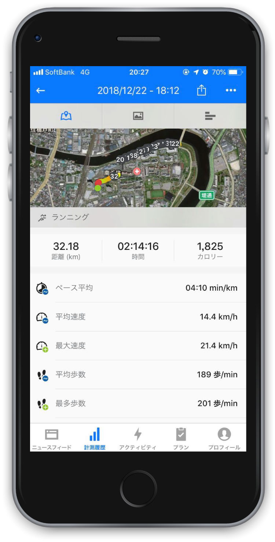 30キロ走のデータ